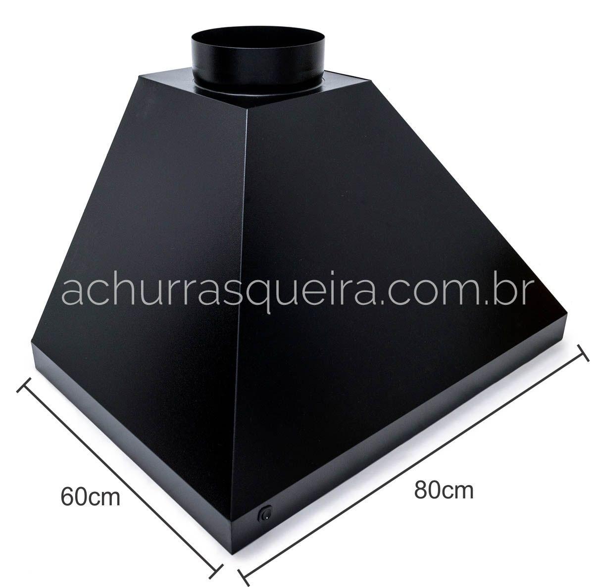 Churrasqueira c/ Coifa Preta 80x60cm - Suporte de Fundo c/ 2 Grelhas e Porta Espetos - Braseiro de Embutir 50x40cm Inox 304/Gal